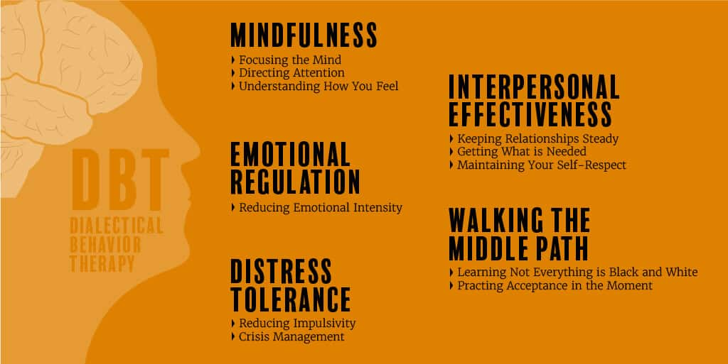 The 5 modules of dialectical behaviour therapy (DBT)
