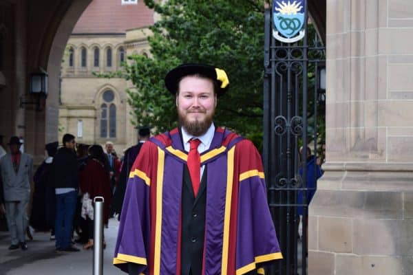 Dr Warwick graduating as a counselling psychologist